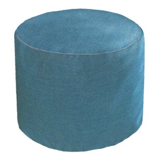 Outdoor/ Indoor Sunbrella Round Cast Lagoon Pouf