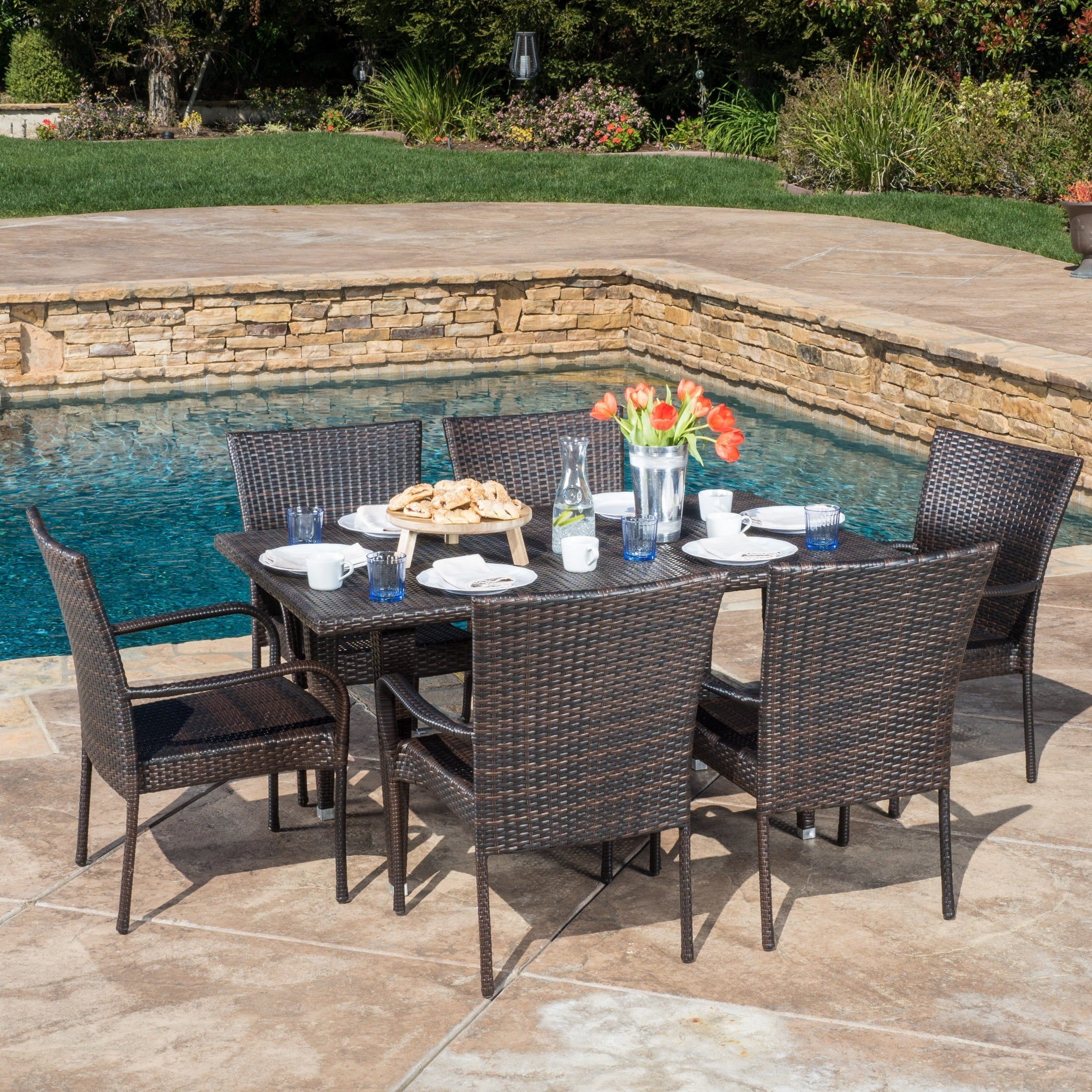 Delani 7 Piece Outdoor Wicker Dining Set By Christopher Knight Home Overstock 11193928