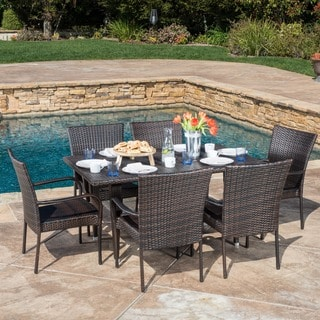 Delani 7-piece Outdoor Wicker Dining Set by Christopher Knight Home