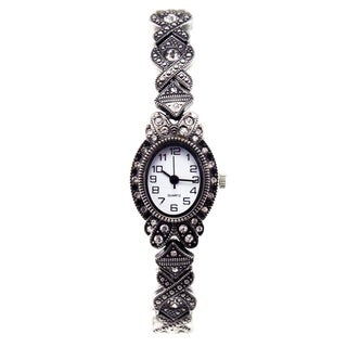 Women's Victorian Style Marcasite with Clear Crystals and Stretch Bracelet Watch