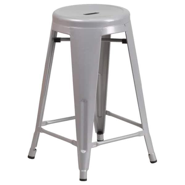 Excellent Shop 24 Inch High Backless Metal Indoor Outdoor Counter Cjindustries Chair Design For Home Cjindustriesco