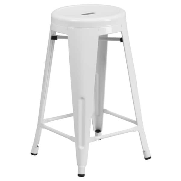 Fantastic Shop 24 Inch High Backless Metal Indoor Outdoor Counter Beatyapartments Chair Design Images Beatyapartmentscom