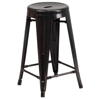 Lancaster Home 24-inch High Backless Metal Indoor/Outdoor Counter Height Stool with Round Seat