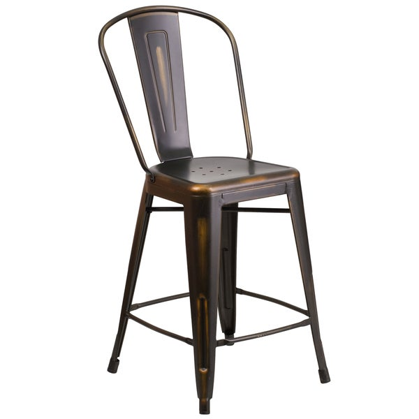 24 Inch High Distressed Metal Indoor Counter Height Stool