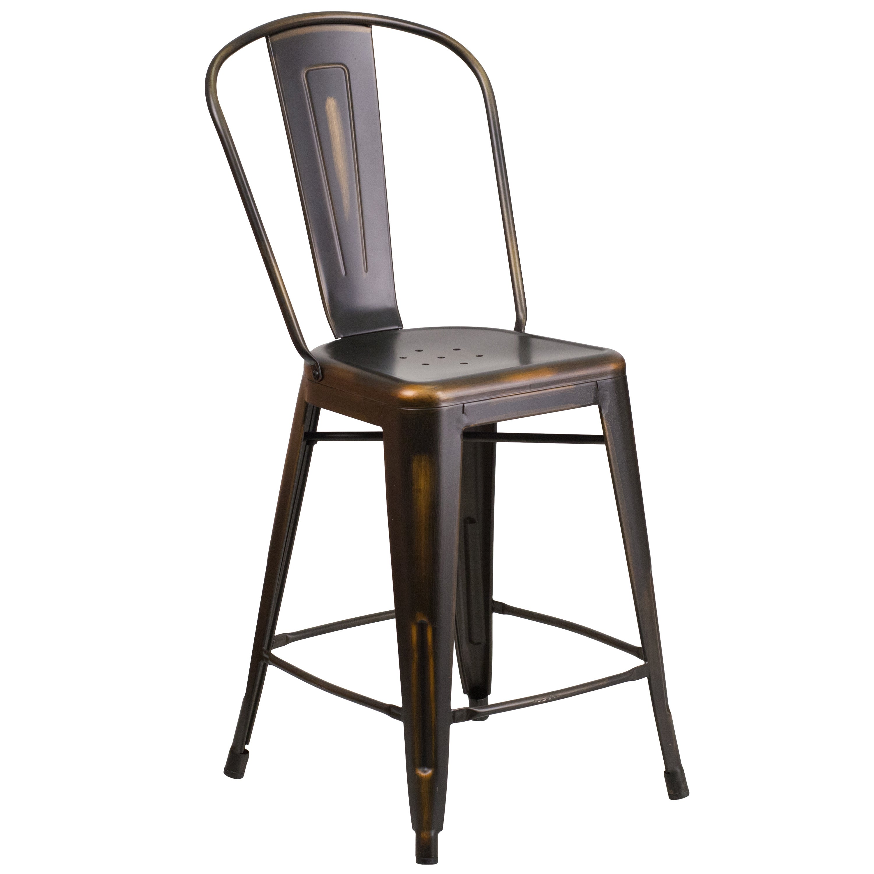 Clay Alder Home Langley Distressed Metal Indoor 24 Inch Counter Height Stool