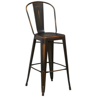 30-inch High Distressed Metal Indoor Barstool