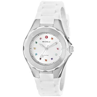 Michele Women's MWW12P000001 'Jelly Bean' Colorful Topaz Stones White Silicone Watch