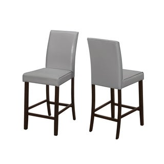 Grey Faux Leather Counter Height Dining Chairs (Set of 2)