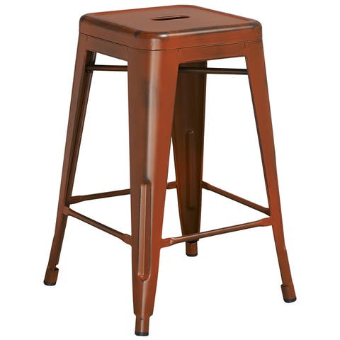Carbon Loft Walton Distressed Metal Backless 24-inch Counter Stool