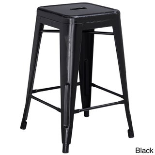 Maison Rouge Delmira 24-inch High Backless Distressed Metal Indoor Counter Height Stool (More options available)
