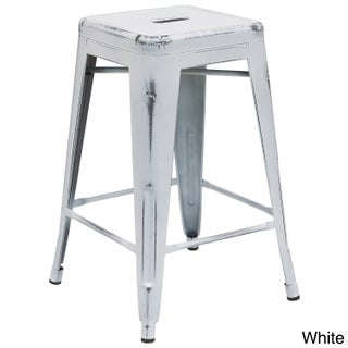Maison Rouge Delmira 24-inch High Backless Distressed Metal Indoor Counter Height Stool (Option: White)