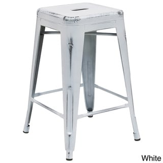 24-inch High Backless Distressed Metal Indoor Counter Height Stool
