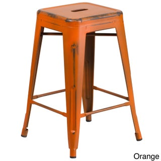 Maison Rouge Delmira 24-inch High Backless Distressed Metal Indoor Counter Height Stool (Option: Orange)