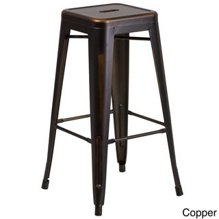 30-inch High Backless Distressed Metal Indoor Barstool
