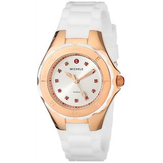Michele Women's MWW12P000003 'Jelly Bean' Colorful Topaz Stones White Silicone Watch