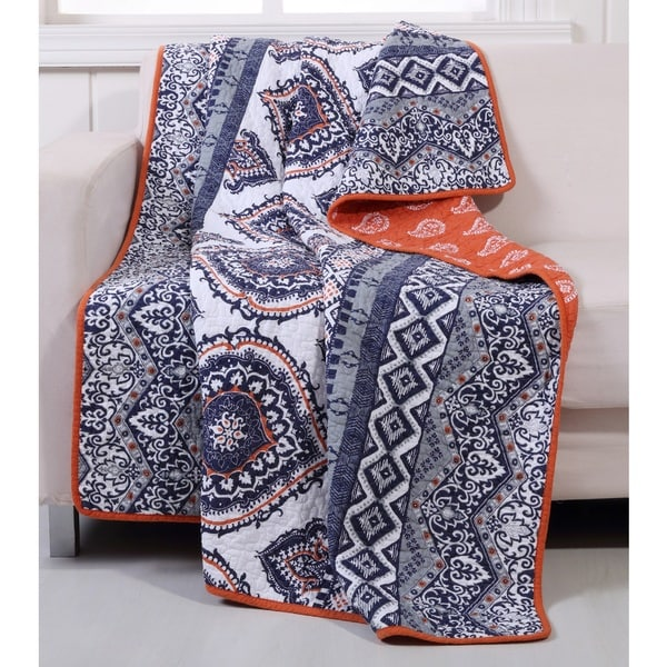 Greenland Home Fashions Medina Saffron Quilted Cotton Throw