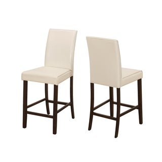 Ivory Faux Leather Counter Height Dining Chairs (Set of 2)