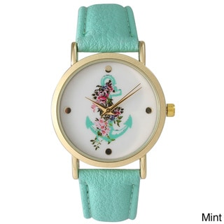 Olivia Pratt Simple Anchor and Flowers Watch