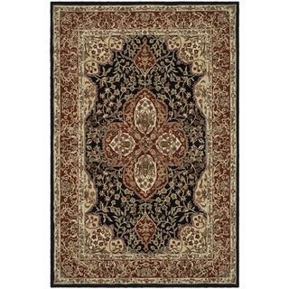 Safavieh Hand-hooked Easy to Care Black/ Red Rug (3' 6 x 5' 10)