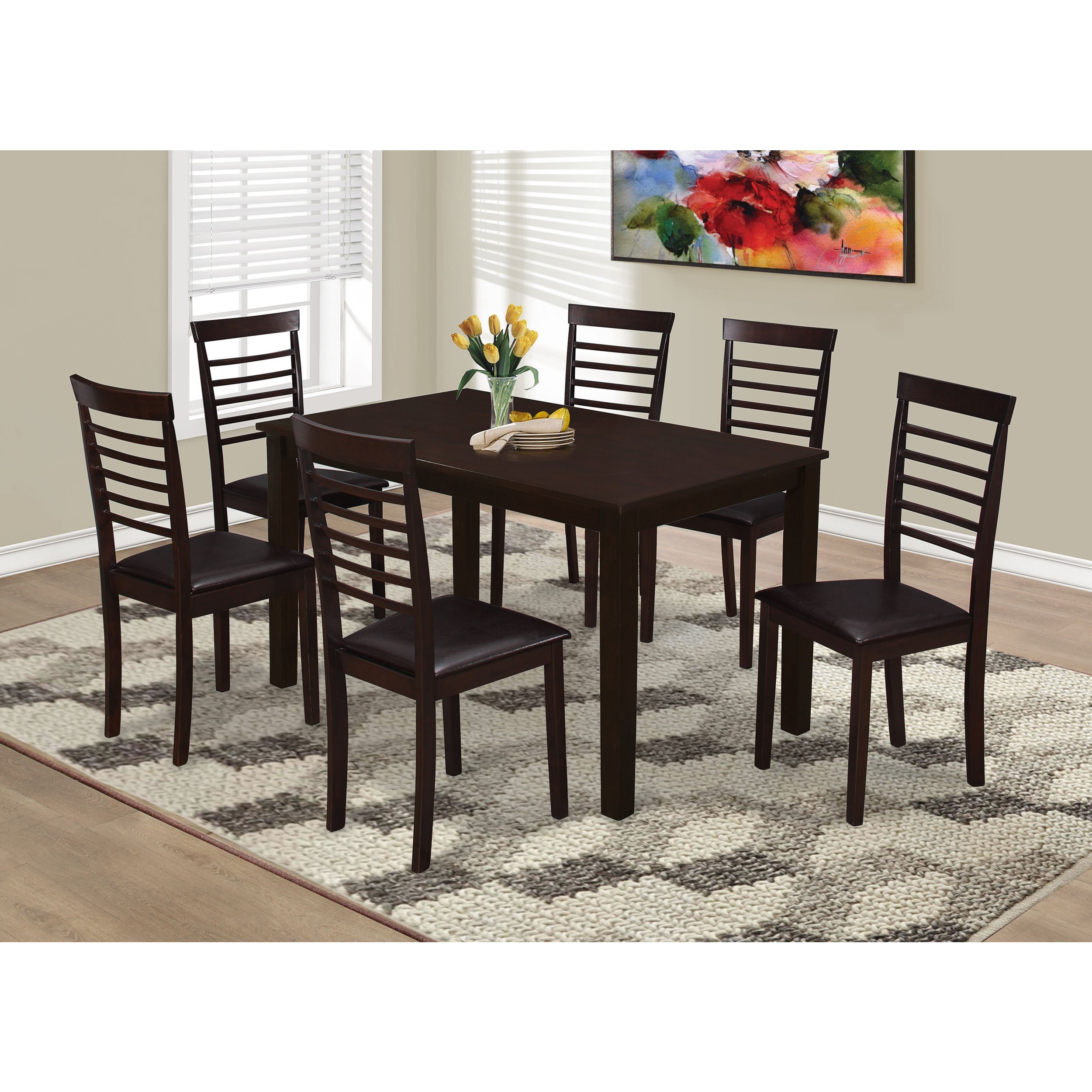 Clay alder home loma cappuccino and brown faux leather ladder back dining chairs set of