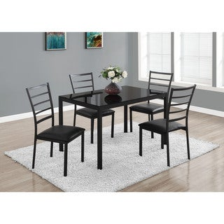 Black Metal Tempered Glass 5-piece Dining Set