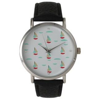 Olivia Pratt Colorful Small Sailboats Leather Watch