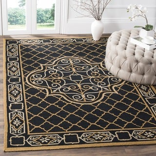 Safavieh Hand-hooked Easy to Care Black/ Gold Rug (3' x 5')