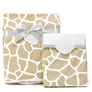 Nurture Giraffe Nursery Plush Blanket and Changing Pad Cover Set