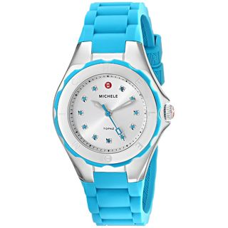 Michele Women's MWW12P000005 'Jelly Bean' Colorful Topaz Stones Blue Silicone Watch