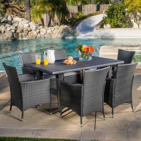 Outdoor Malta 7 Piece Pe Wicker Dining Set With Cushions By Christopher Knight Home