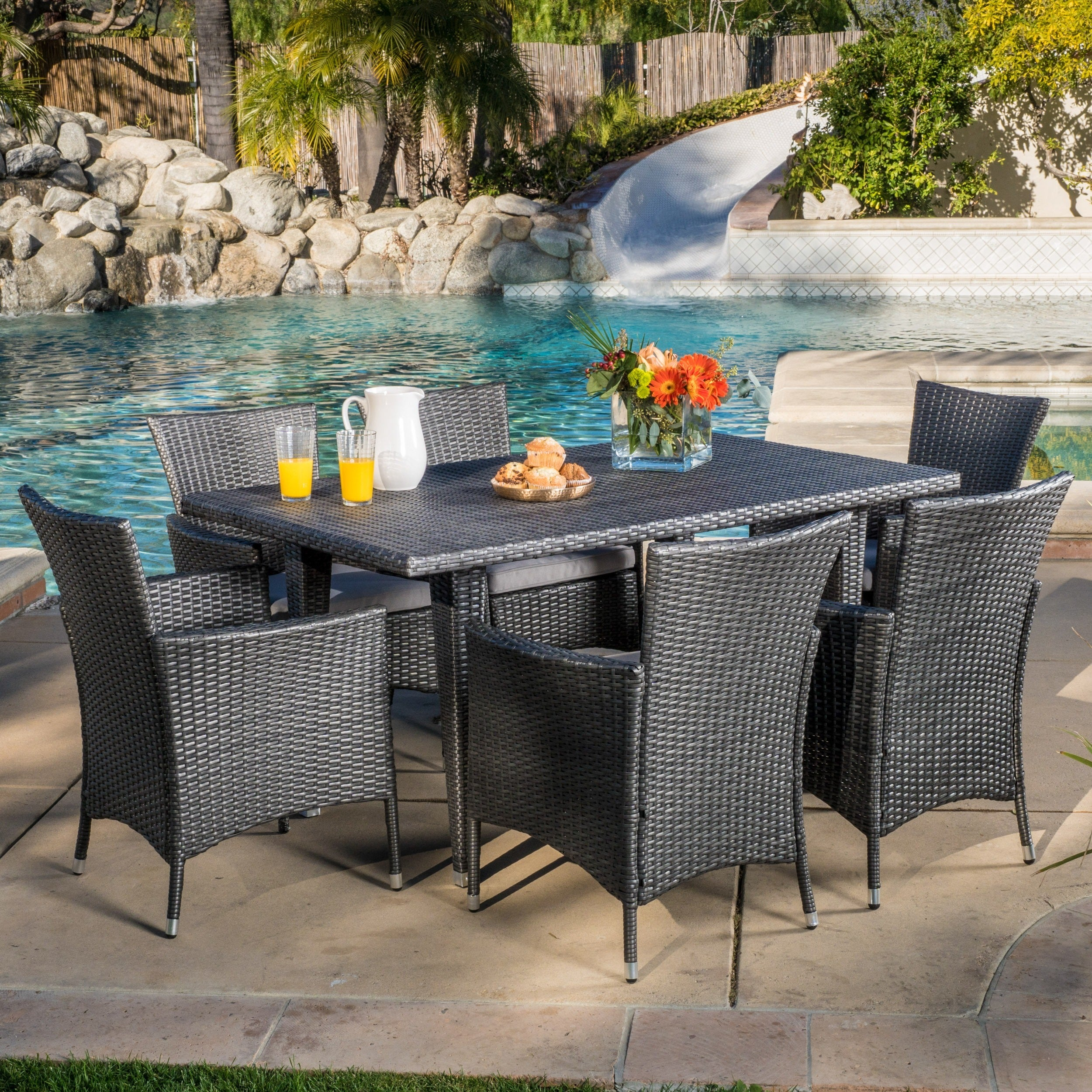 Outdoor Malta 7-piece PE Wicker Dining Set with Cushions ...