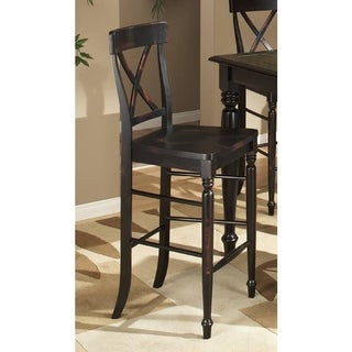 Roanoke Black Hand Rubbed 30-inch X-Back Barstool (Set of 2)