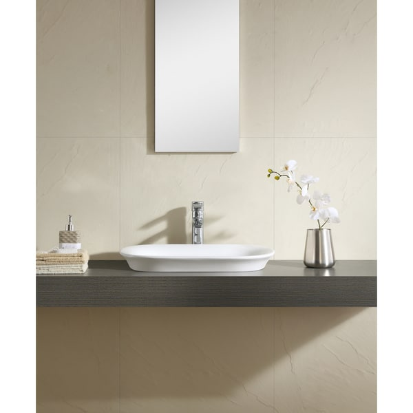 Thin Sink : Fine Fixtures White 22-inch Thin Edge Vessel Sink - Free Shipping ...