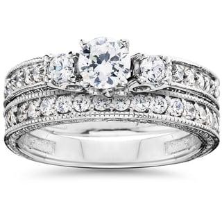 14k White Gold 1.5ct TDW Diamond Vintage Bridal Ring Set (I-J, I2-I3)
