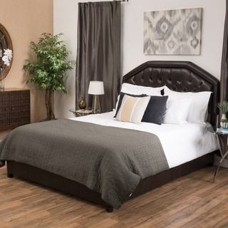 Christopher Knight Home Angelica Tufted Bonded Leather Queen Bed Set