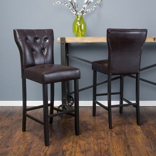 Link to Donner 31-inch Bonded Leather Barstool (Set of 2) by Christopher Knight Home Similar Items in Dining Room & Bar Furniture