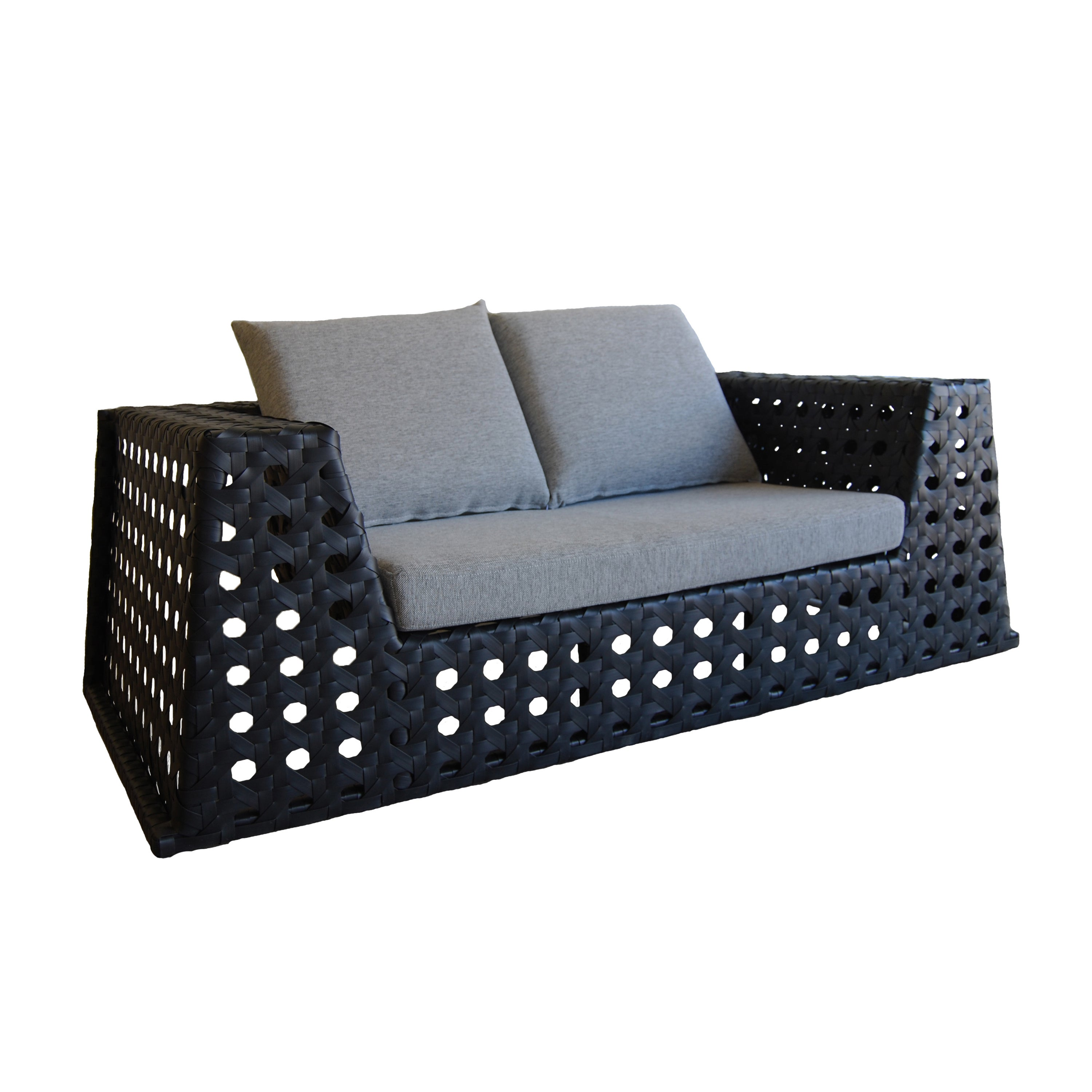 Black and Grey Happy Hour Loveseat (Black Loveseat with g...