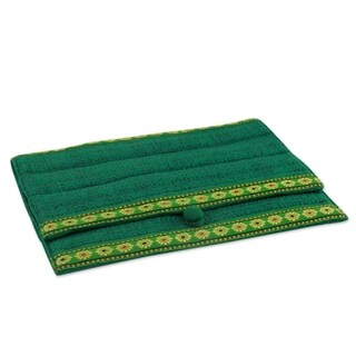 Tussar Silk 'Emerald Elegance' iPad Sleeve (India)