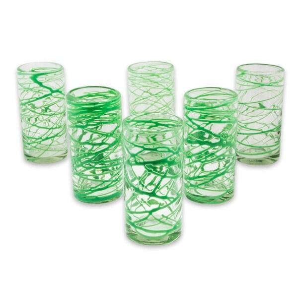 Handmade Blown Glass Emerald Swirl Glasses Set of 6 (Mexico)