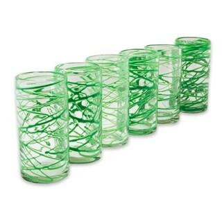 Set of 6 Handmade Blown Glass 'Emerald Swirl' Glasses (Mexico)