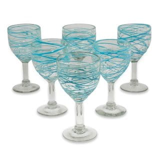 Set of 6 Blown Glass 'Aquamarine Swirl' Wine Glasses (Mexico)