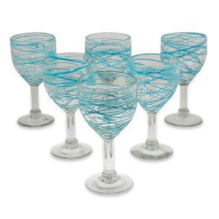 Handmade Set of 6 Blown Glass 'Aquamarine Swirl' Wine Glasses (Mexico)