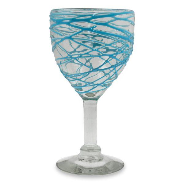 handmade set of 6 blown glass swirlu0027 wine glasses mexico free shipping today