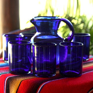 Handmade Set of 6 Extra Large Blown Glass 'Cobalt Charm' Tumblers (Mexico)