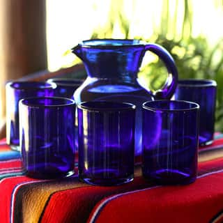 Handmade Set of 6 Extra Large Blown Glass 'Cobalt Charm' Tumblers (Mexico)|https://ak1.ostkcdn.com/images/products/11194679/P18185233.jpg?impolicy=medium