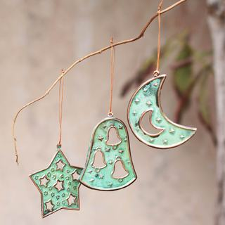 Set of 6 Handmade Bronze Copper 'Joyous Art' Ornaments (Peru)
