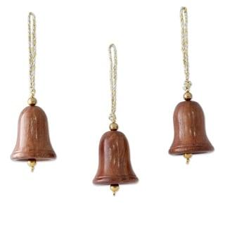 Set of 3 Sheesham Wood 'Bells of Peace' Ornaments (India)
