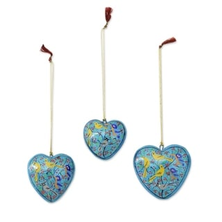 Set of 3 Papier Mache 'Christmas Songbirds' Ornaments (India)