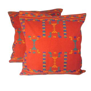 Handmade Set of 2 Cotton 'Sequences' Cushion Covers (India)