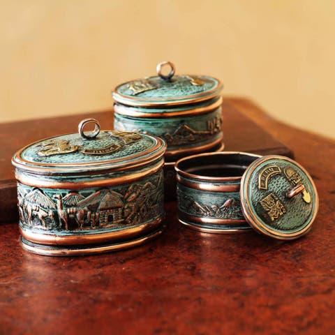 Set of 3 Handmade Bronze Copper 'Andean Life' Boxes (Peru)